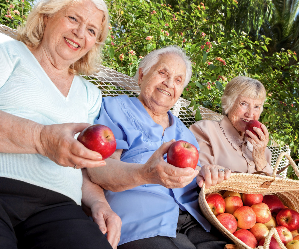 Senior women with apples from an apple picking outing